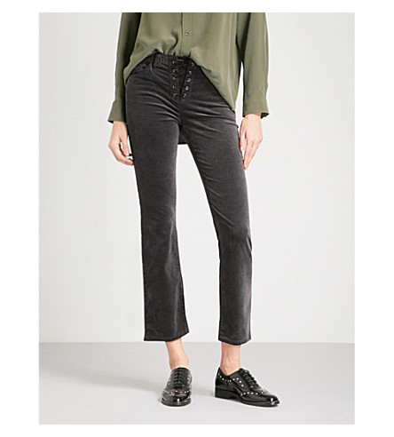 AG The Jodi Crop lace-up flared high-rise velvet jeans (Rich+mercury