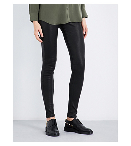 AG Skinny mid-rise leather leggings (Super+black