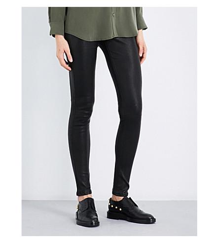 AG 紧身中腰皮革绑腿 (超级 + 黑色