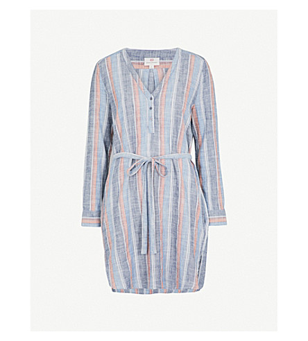 AG Anna Henley striped cotton shirt dress (Blue+fig+multi