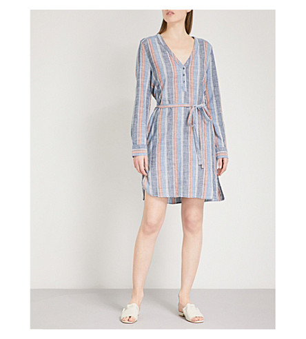 AG Anna Henley striped cotton shirt dress (Blue+fig+multi