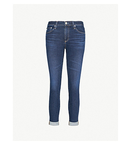 AG Prima roll-up cigarette-fit high-rise jeans (2 years aromatic blue