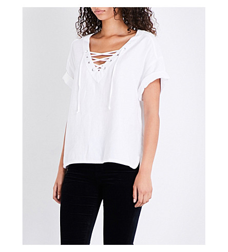 AG The Kelly lace-up twill top (True+white