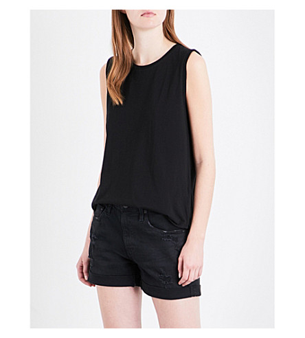 AG The Ashton cotton-jersey top (True+black