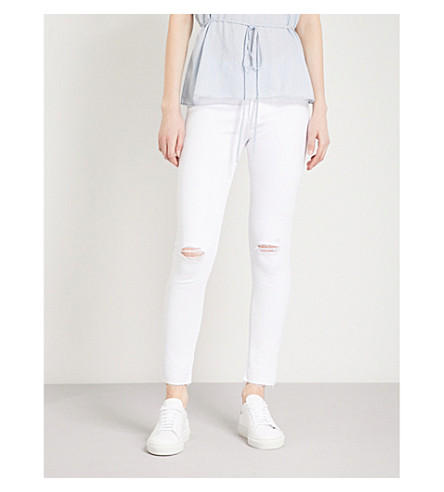 AG Farrah skinny high-rise jeans (Uncharted+white