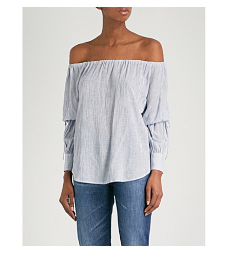 AG The Tallulah off-the-shoulder woven top (Navy/white