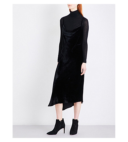 AG The Gia velvet slip dress (True+black