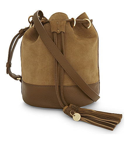 SEE BY CHLOE Leather and suede bucket bag (Olive