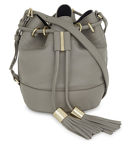 SEE BY CHLOE Tassel leather bucket bag (Cashmere+grey