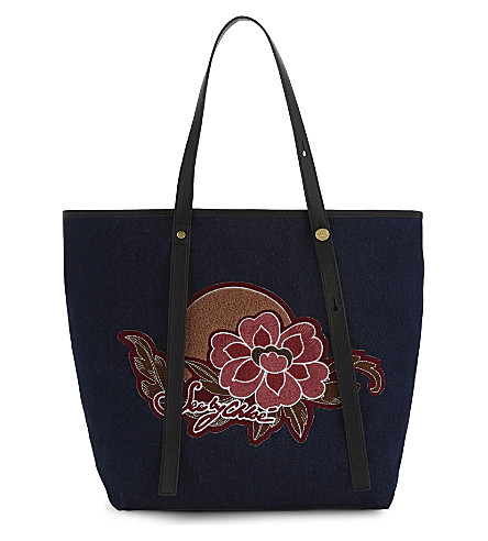 SEE BY CHLOE Floral denim tote (Multi+pink