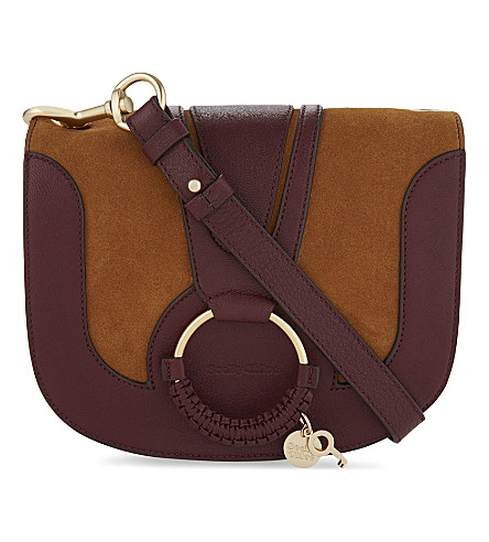 SEE BY CHLOE Hana suede and leather cross-body bag (Caramelo
