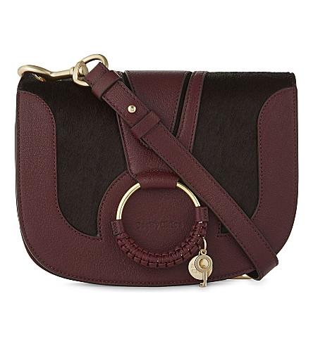 SEE BY CHLOE Hana leather & haircalf cross-body bag (Grenat