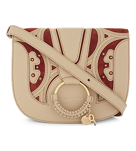 SEE BY CHLOE Hannah medium leather and suede saddle bag (Pearl+brige