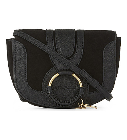 SEE BY CHLOE Hana mini leather and suede cross-body bag (Black