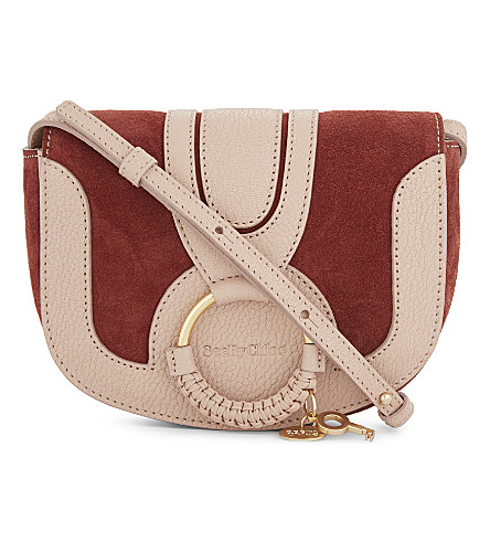 SEE BY CHLOE Hannah mini textured shoulder bag (Faded+mahogany