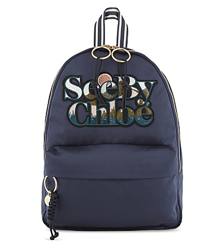 SEE BY CHLOE Logo satin backpack (Multi+blue