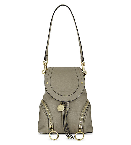 SEE BY CHLOE Olga small leather backpack (Motty+grey
