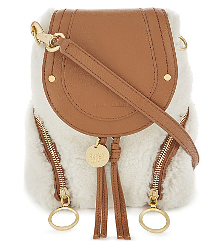 SEE BY CHLOE Shearling and leather mini backpack (Caramelo