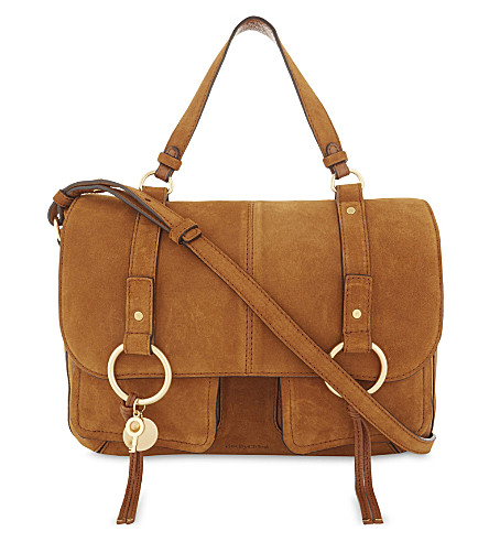 SEE BY CHLOE Leather and suede shoulder bag (Caramelo