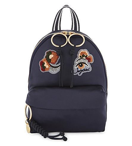 SEE BY CHLOE Appliqué satin backpack (Ultra+marine