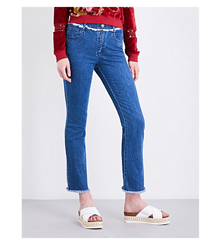 SEE BY CHLOE Frayed-hem skinny high-rise jeans (Washed+indigo