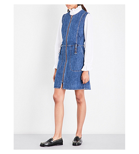SEE BY CHLOE Sleeveless denim shift dress (Washed+indigo
