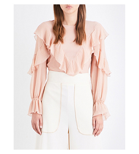SEE BY CHLOE Frilled cotton and silk blouse (Nude