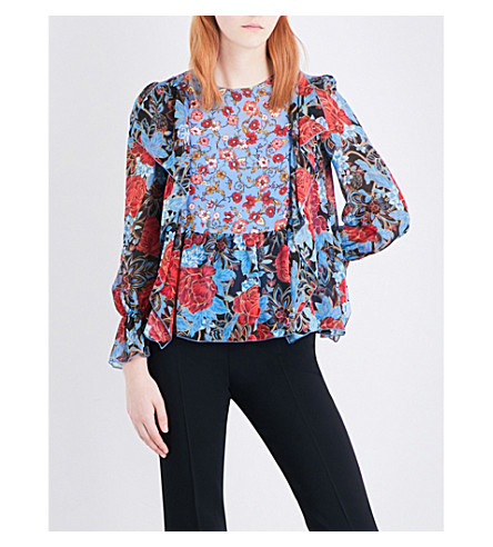 SEE BY CHLOE Floral-print silk crepe de chine blouse (Blue+dream