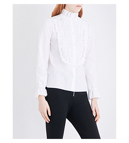 SEE BY CHLOE Ruffled cotton-poplin shirt (White