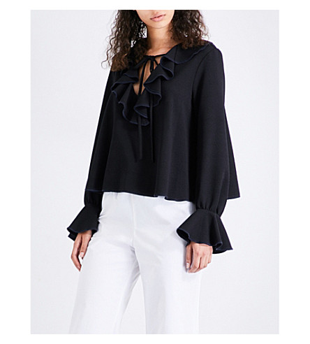SEE BY CHLOE Front-frill crepe blouse (Black
