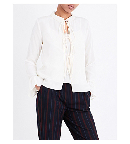 SEE BY CHLOE Tie-up silk blouse (Natural+white