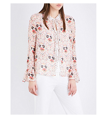 SEE BY CHLOE Floral-print chiffon blouse (Winter+white