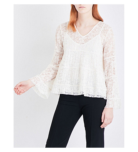 SEE BY CHLOE Pleated floral-lace top (Natural+white
