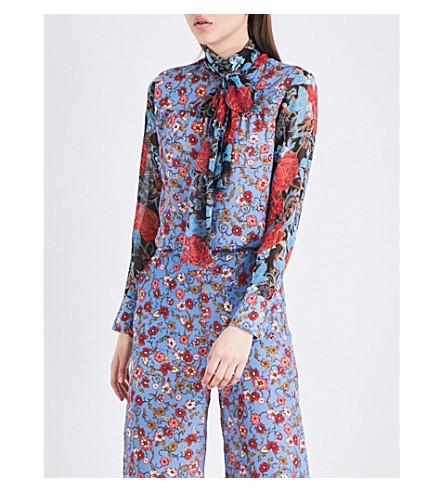 SEE BY CHLOE Floral-print silk blouse (Blue+dream