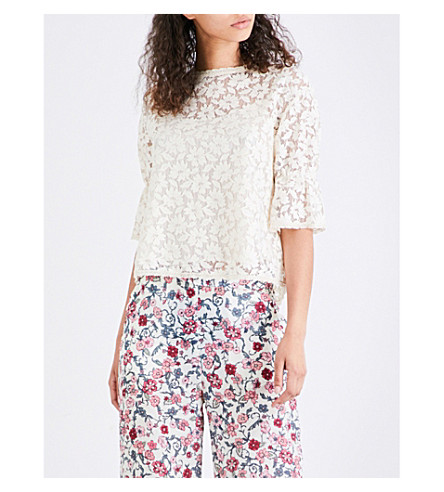SEE BY CHLOE Floral-print crepe de chine blouse (Natural+white