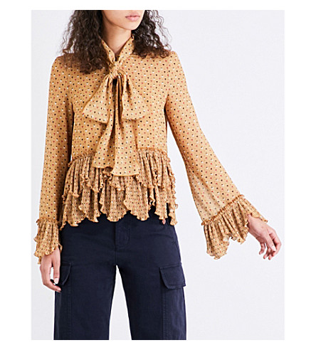 SEE BY CHLOE Micro-print pussybow crepe blouse (Ochre
