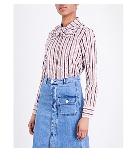 SEE BY CHLOE Peter Pan-collar striped cotton-poplin shirt (Rubis