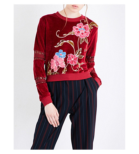SEE BY CHLOE Floral-embroidered velour sweatshirt (Brick+red