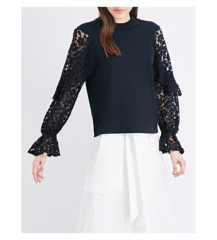 SEE BY CHLOE Lace-sleeve cotton-jersey top (Black