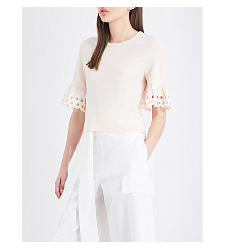 SEE BY CHLOE Cuff-embroidered cotton-jersey top (Morganite