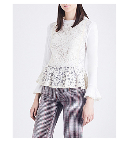 SEE BY CHLOE Peplum-hem lace top (Natural+white