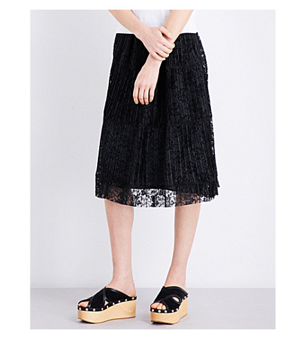SEE BY CHLOE Pleated floral-lace skirt (Black