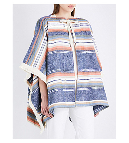 SEE BY CHLOE Fringed striped canvas poncho (Blue+shadow