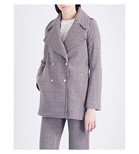 SEE BY CHLOE Houndstooth double-breasted wool-blend coat (Winter+white