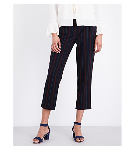 SEE BY CHLOE Striped straight stretch-crepe trousers (Navy