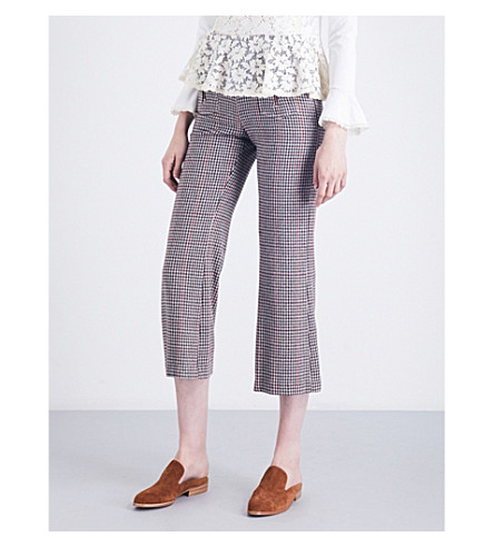 SEE BY CHLOE Houndstooth cropped high-rise wool-blend pants (Winter+white