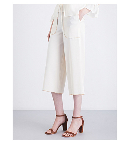 SEE BY CHLOE Straight-fit cropped high-rise crepe trousers (Natural+white