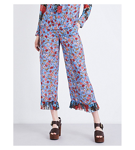 SEE BY CHLOE Floral-print wide-leg crepe de chine trousers (Blue+dream