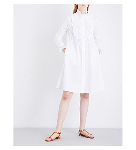 SEE BY CHLOE Ruffled cotton-poplin shirt dress (White
