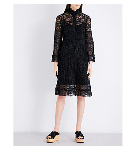 SEE BY CHLOE Pleated floral-lace dress (Black